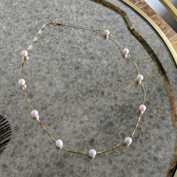 321f9fb9917f7 14k Yellow Gold Floating Pearl Necklace
